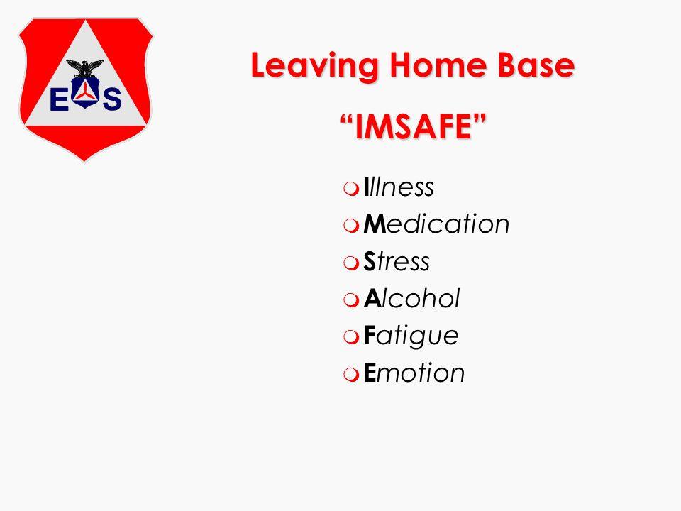 Leaving Home Base IMSAFE m I llness m M edication m S tress m A lcohol m F atigue m E motion