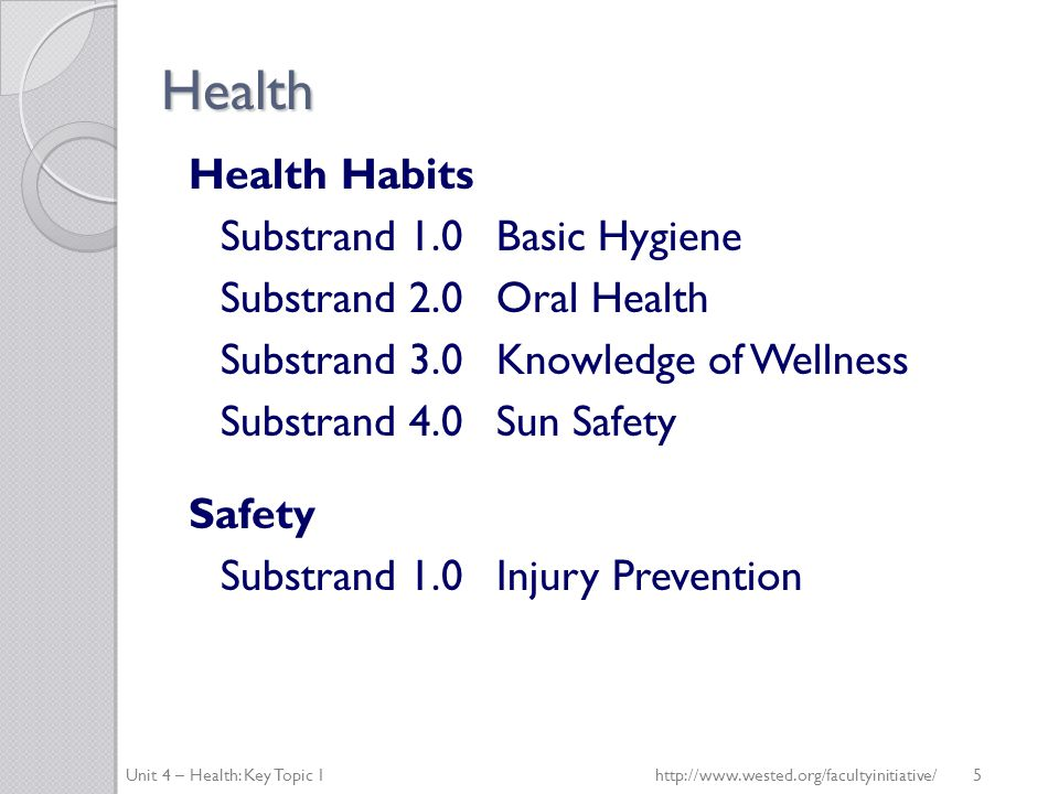 Health Nutrition Substrand 1.0Nutrition Knowledge Substrand 2.0Nutrition Choices Substrand 3.0Self-Regulation of Eating Unit 4 – Health: Key Topic 1http://www.wested.org/facultyinitiative/ 6