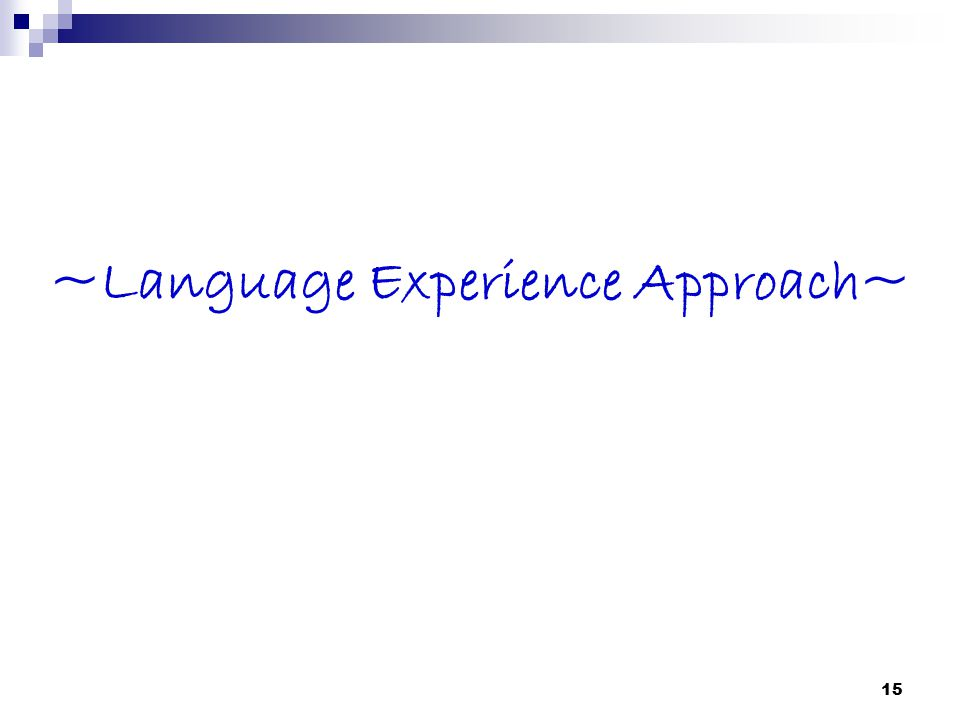 ~Language Experience Approach~ 15
