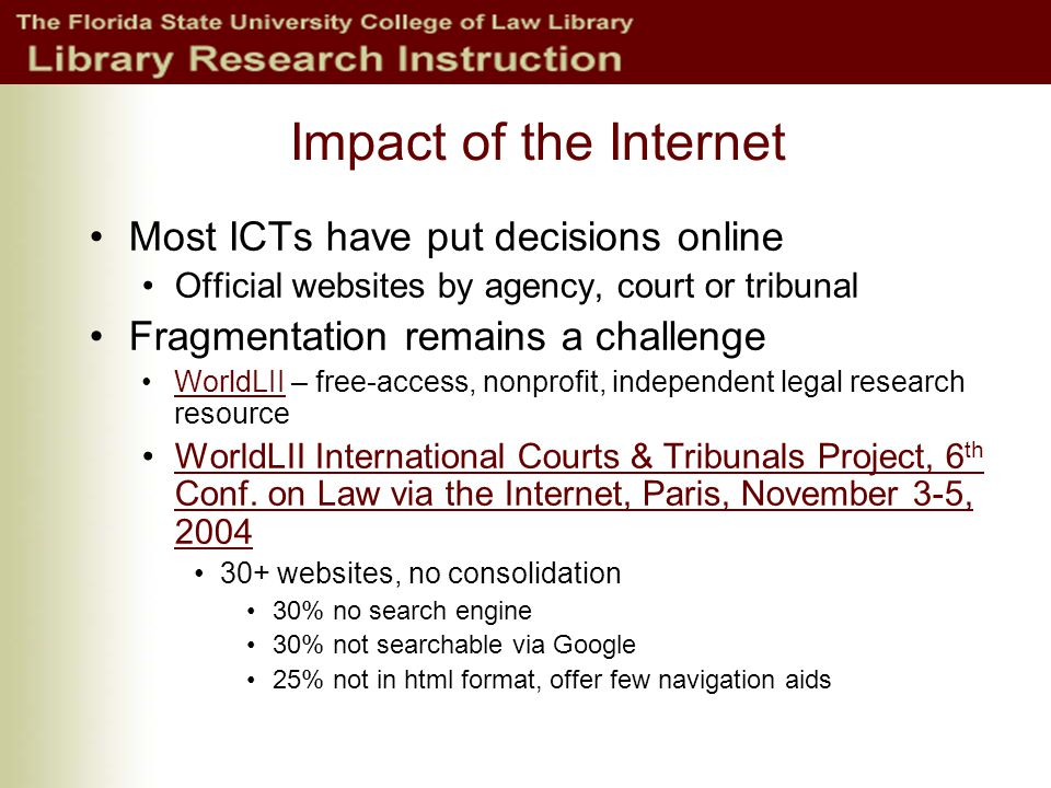 ICT Project: A response to fragmentation Project goals: searchability, consistency & decentralization wherever practical All final decisions of ICTs searchable together Not including interim decisions Consistent formatting of decisions E.g., 'Context' links to search terms Consistency in citation form Ex., McElhinney v.