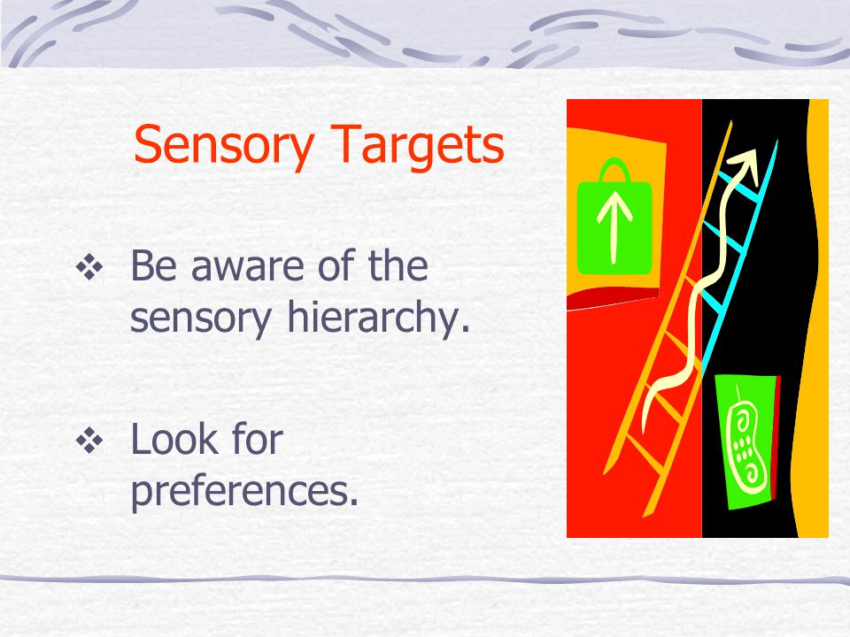 Sensory Targets  Be aware of the sensory hierarchy.  Look for preferences.