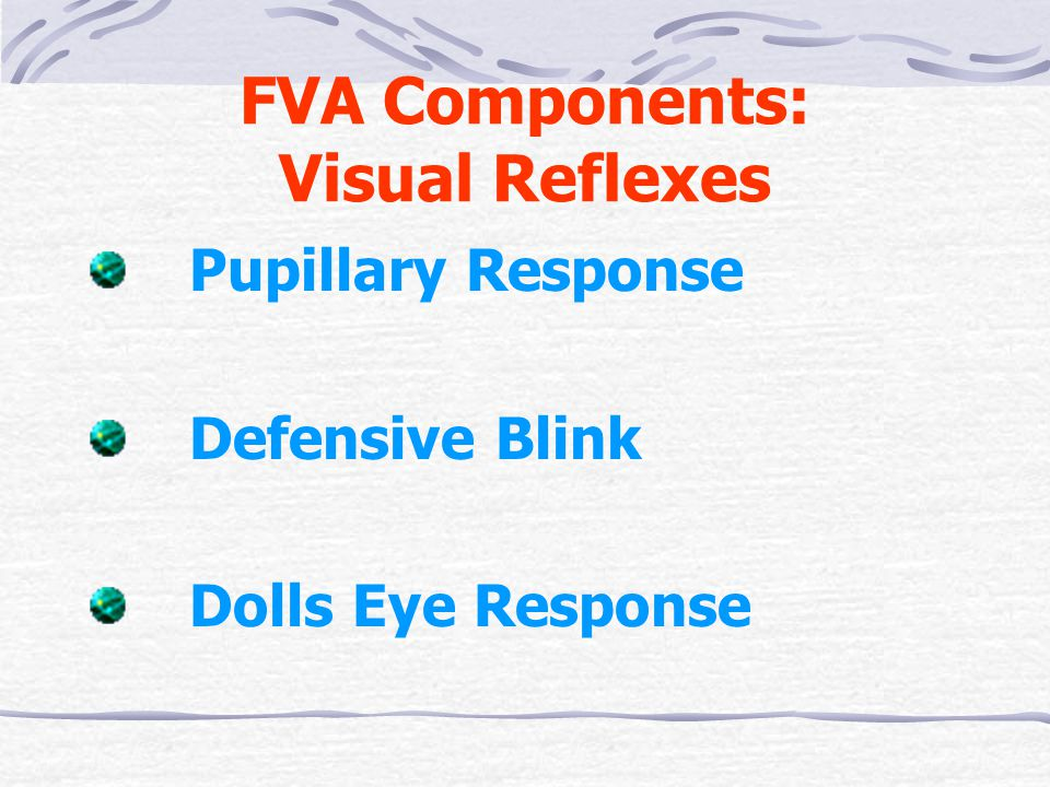 FVA Components: Visual Reflexes Pupillary Response Defensive Blink Dolls Eye Response