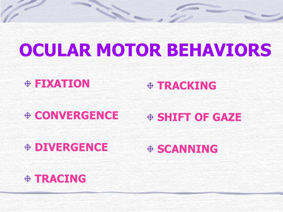 OCULAR MOTOR BEHAVIORS FIXATION CONVERGENCE DIVERGENCE TRACING TRACKING SHIFT OF GAZE SCANNING