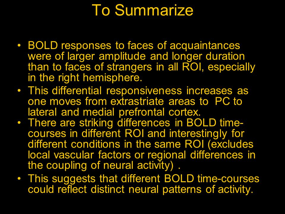 To Summarize BOLD responses to faces of acquaintances were of larger amplitude and longer duration than to faces of strangers in all ROI, especially in the right hemisphere.