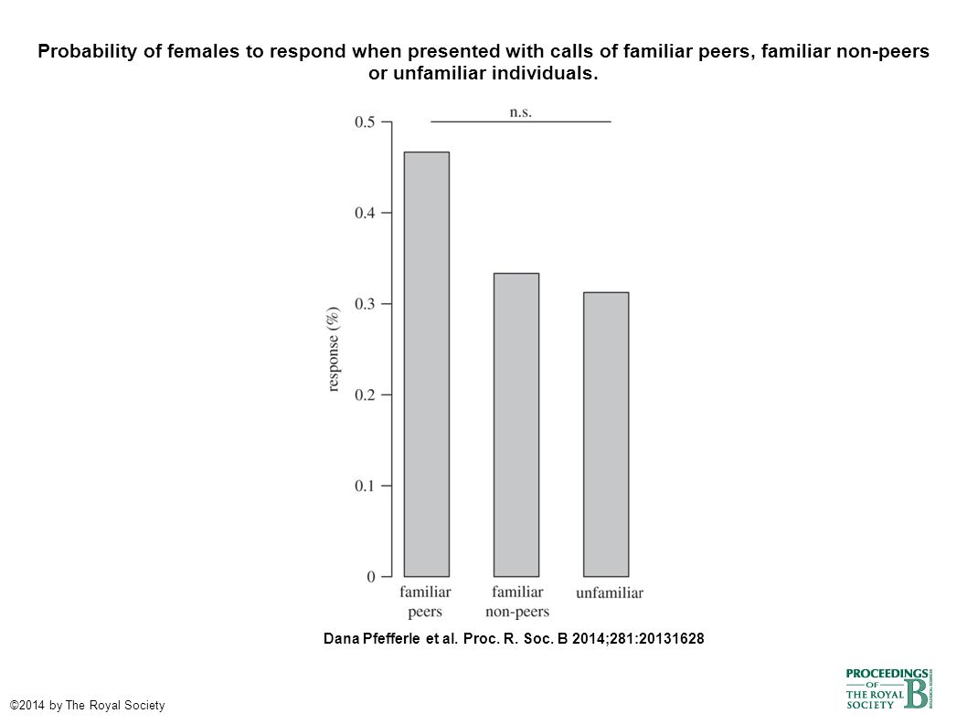 Probability of females to respond when presented with calls of familiar peers, familiar non-peers or unfamiliar individuals. Dana Pfefferle et al. Pro