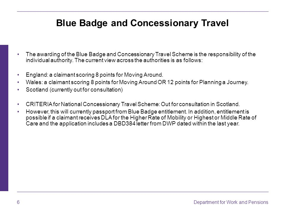 6 Department for Work and Pensions Blue Badge and Concessionary Travel The awarding of the Blue Badge and Concessionary Travel Scheme is the responsibility of the individual authority.