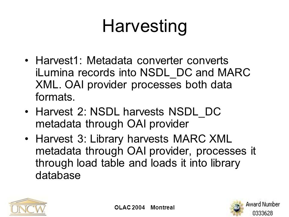 OLAC 2004 Montreal Harvesting Harvest1: Metadata converter converts iLumina records into NSDL_DC and MARC XML. OAI provider processes both data format