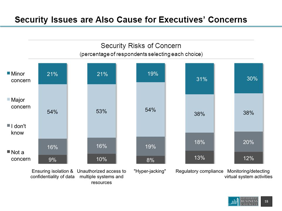 18 Security Risks of Concern (percentage of respondents selecting each choice) Security Issues are Also Cause for Executives' Concerns