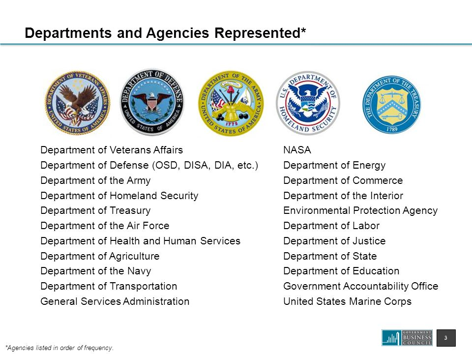 3 Departments and Agencies Represented* Department of Veterans Affairs Department of Defense (OSD, DISA, DIA, etc.) Department of the Army Department of Homeland Security Department of Treasury Department of the Air Force Department of Health and Human Services Department of Agriculture Department of the Navy Department of Transportation General Services Administration NASA Department of Energy Department of Commerce Department of the Interior Environmental Protection Agency Department of Labor Department of Justice Department of State Department of Education Government Accountability Office United States Marine Corps *Agencies listed in order of frequency.