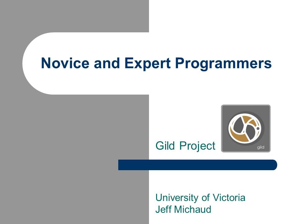 Novice and Expert Programmers Gild Project University of Victoria Jeff Michaud