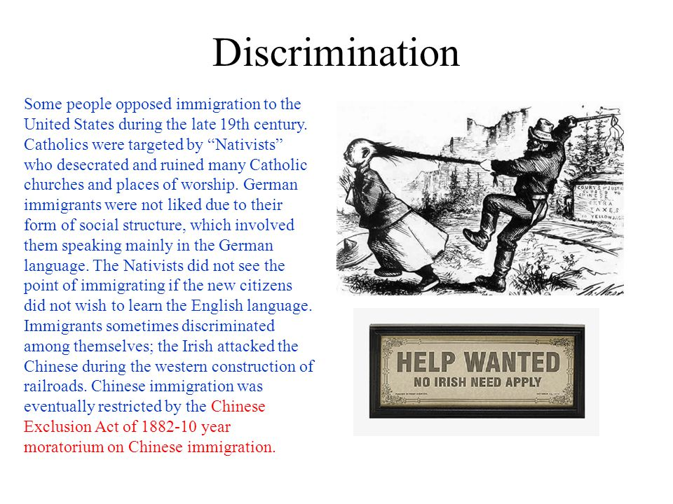 Congregating in Cities When immigrants came to America, they often stuck by one another when finding a place to dwell.