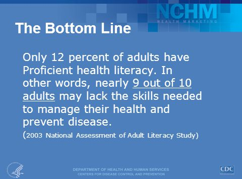 The Bottom Line Only 12 percent of adults have Proficient health literacy.