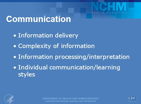 Communication Information delivery Complexity of information Information processing/interpretation Individual communication/learning styles