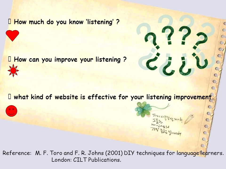 Ⅰ How much do you know 'listening' . Ⅱ How can you improve your listening .