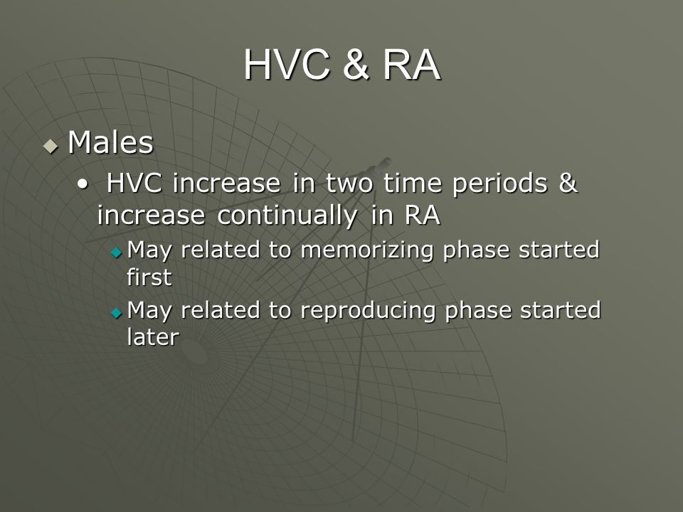 HVC & RA  Males HVC increase in two time periods & increase continually in RA HVC increase in two time periods & increase continually in RA  May related to memorizing phase started first  May related to reproducing phase started later