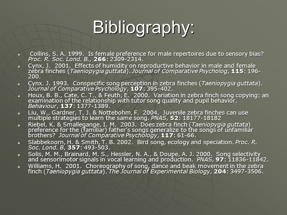 Bibliography:  Collins, S. A. 1999.