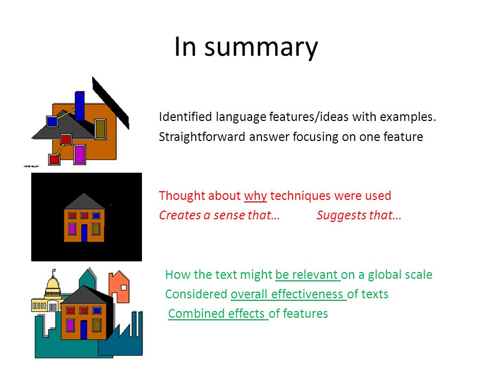 In summary Identified language features/ideas with examples.