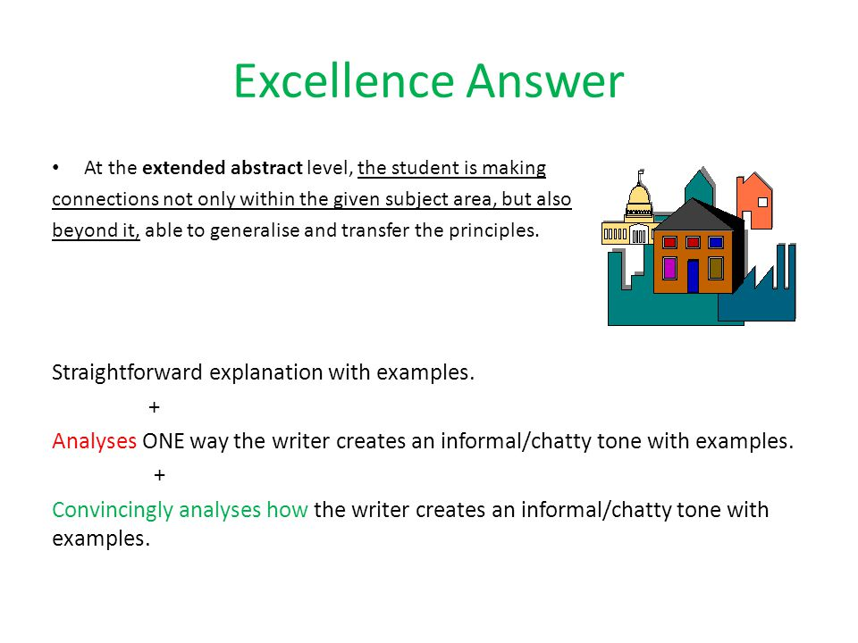 Excellence Answer At the extended abstract level, the student is making connections not only within the given subject area, but also beyond it, able to generalise and transfer the principles.