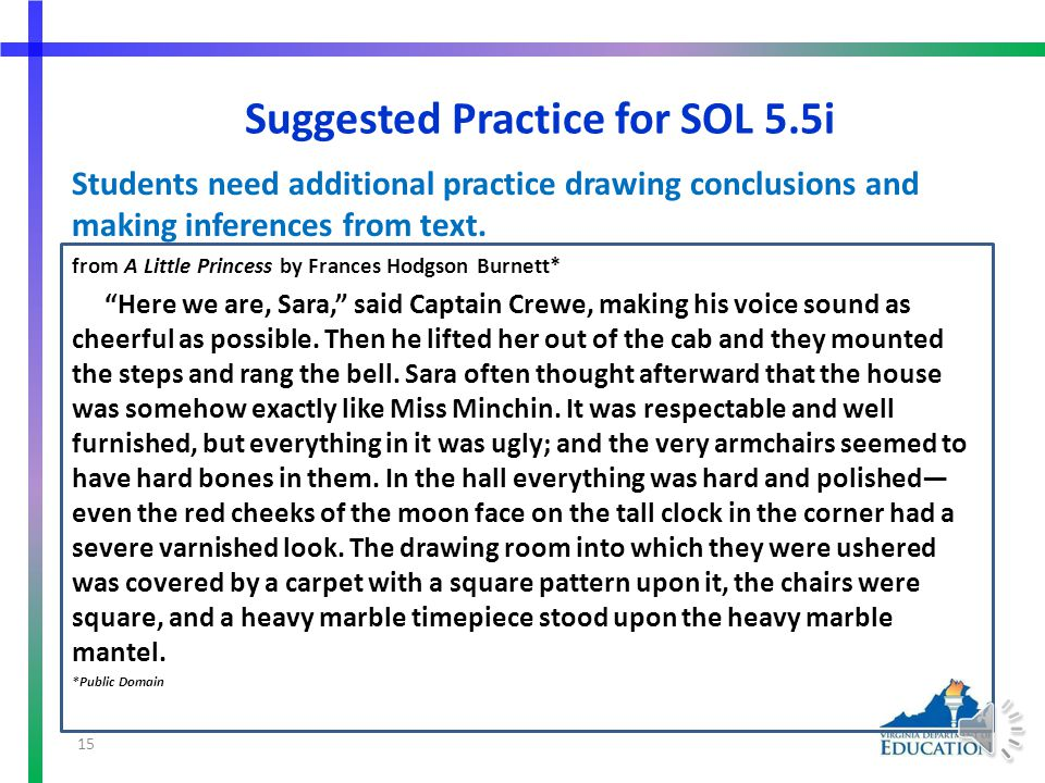 More Suggested Practice for SOL 5.5h Students need additional practice summarizing supporting details from text.