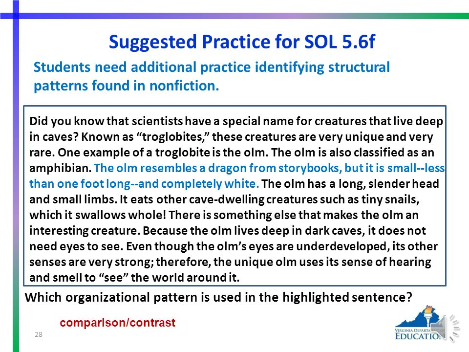 More Suggested Practice for SOL 5.6e Students need additional practice summarizing supporting details in nonfiction text. Suggestions: Which sentence