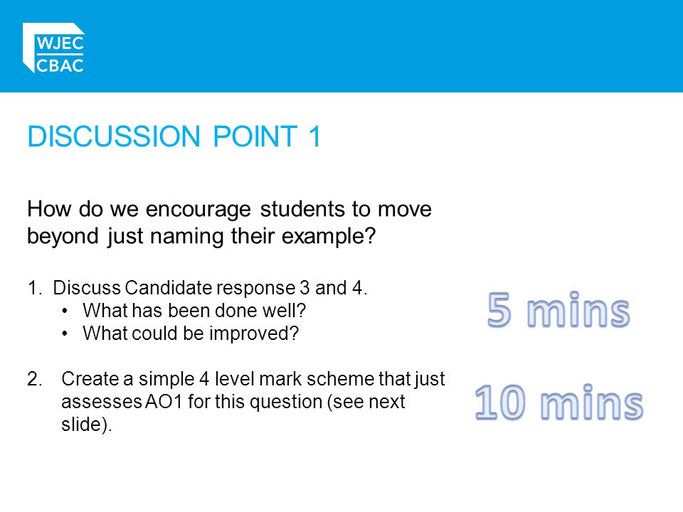 DISCUSSION POINT 1 How do we encourage students to move beyond just naming their example.
