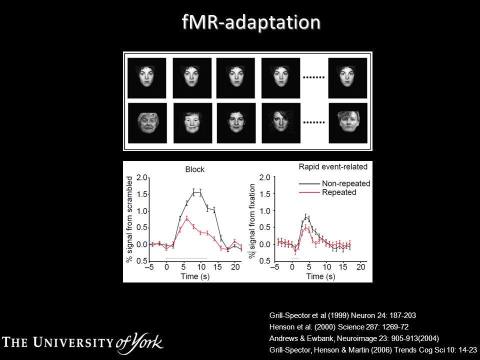 fMR-adaptation Grill-Spector et al (1999) Neuron 24: 187-203 Henson et al. (2000) Science 287: 1269-72 Andrews & Ewbank, Neuroimage 23: 905-913(2004)