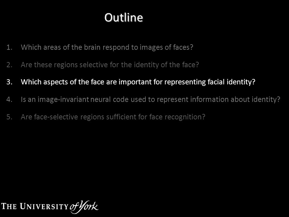 Outline 1.Which areas of the brain respond to images of faces? 2.Are these regions selective for the identity of the face? 3.Which aspects of the face