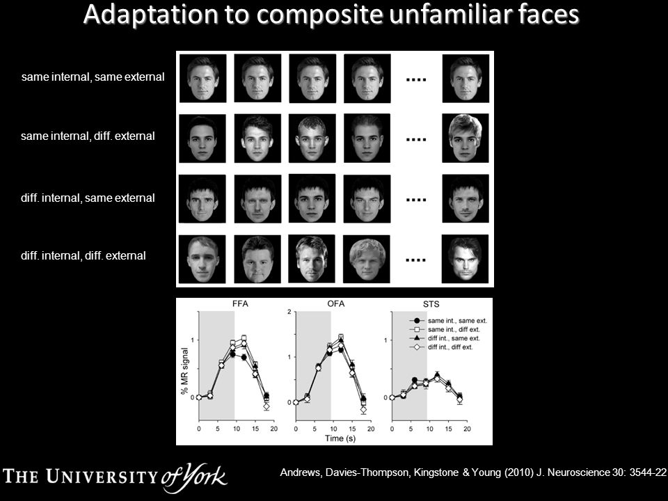 Adaptation to composite unfamiliar faces same internal, same external same internal, diff.