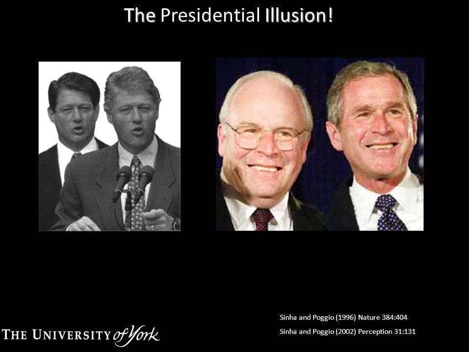 The Illusion! The Presidential Illusion! FFAOFASTS Sinha and Poggio (1996) Nature 384:404 Sinha and Poggio (2002) Perception 31:131