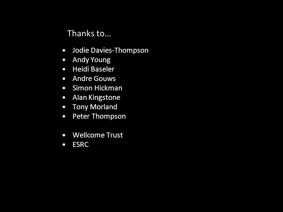 Thanks to… Jodie Davies-Thompson Andy Young Heidi Baseler Andre Gouws Simon Hickman Alan Kingstone Tony Morland Peter Thompson Wellcome Trust ESRC