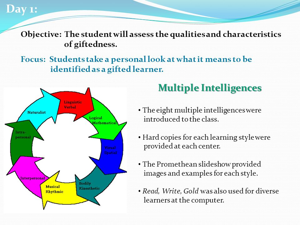 YouTube Video What is Gifted? Think Pair Share Multiple Intelligences Think/Pair/Share Students at each center collaborated as a group with regards to what it means to be gifted.