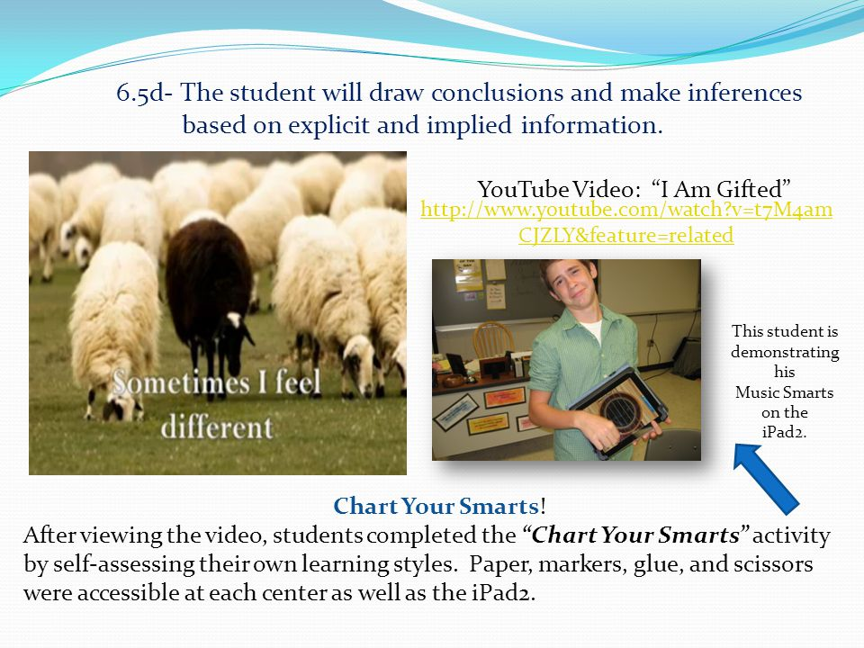 6.5d- The student will draw conclusions and make inferences based on explicit and implied information.