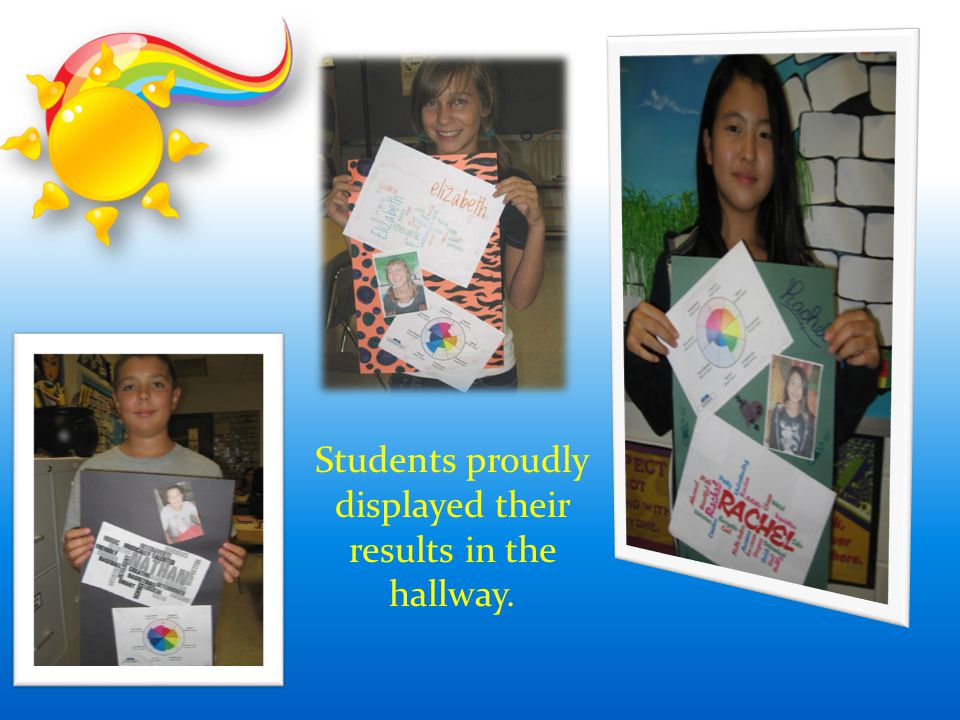 Students proudly displayed their results in the hallway.