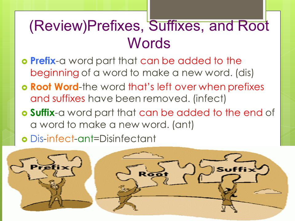 (Review)Prefixes, Suffixes, and Root Words  Prefix -a word part that can be added to the beginning of a word to make a new word.