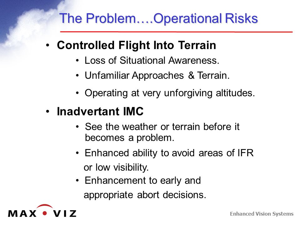 Enhanced Vision Systems The Problem….Operational Risks Controlled Flight Into Terrain See the weather or terrain before it becomes a problem. Inadvert