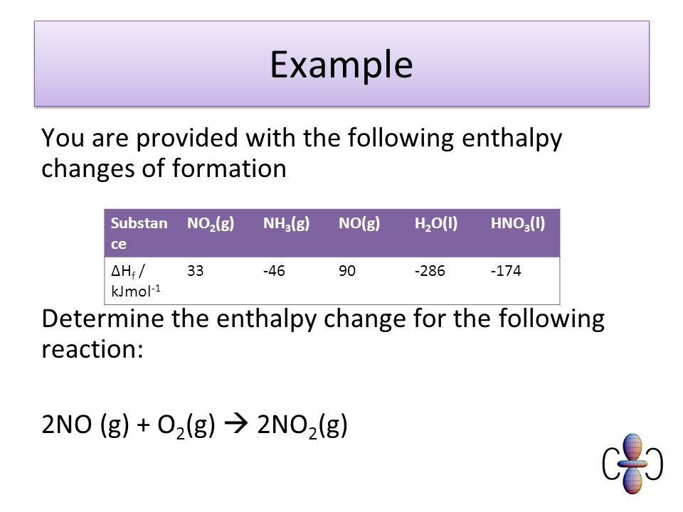Example You are provided with the following enthalpy changes of formation Determine the enthalpy change for the following reaction: 2NO (g) + O 2 (g)  2NO 2 (g) Substan ce NO 2 (g)NH 3 (g)NO(g)H 2 O(l)HNO 3 (l) ΔH f / kJmol -1 33-4690-286-174