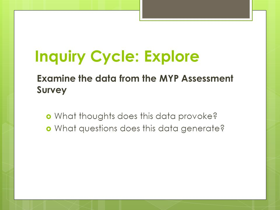 Inquiry Cycle: Explore Examine the data from the MYP Assessment Survey  What thoughts does this data provoke?  What questions does this data generat