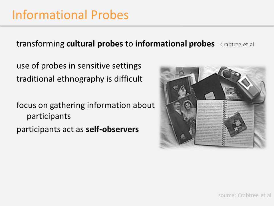 Informational Probes transforming cultural probes to informational probes - Crabtree et al use of probes in sensitive settings traditional ethnography