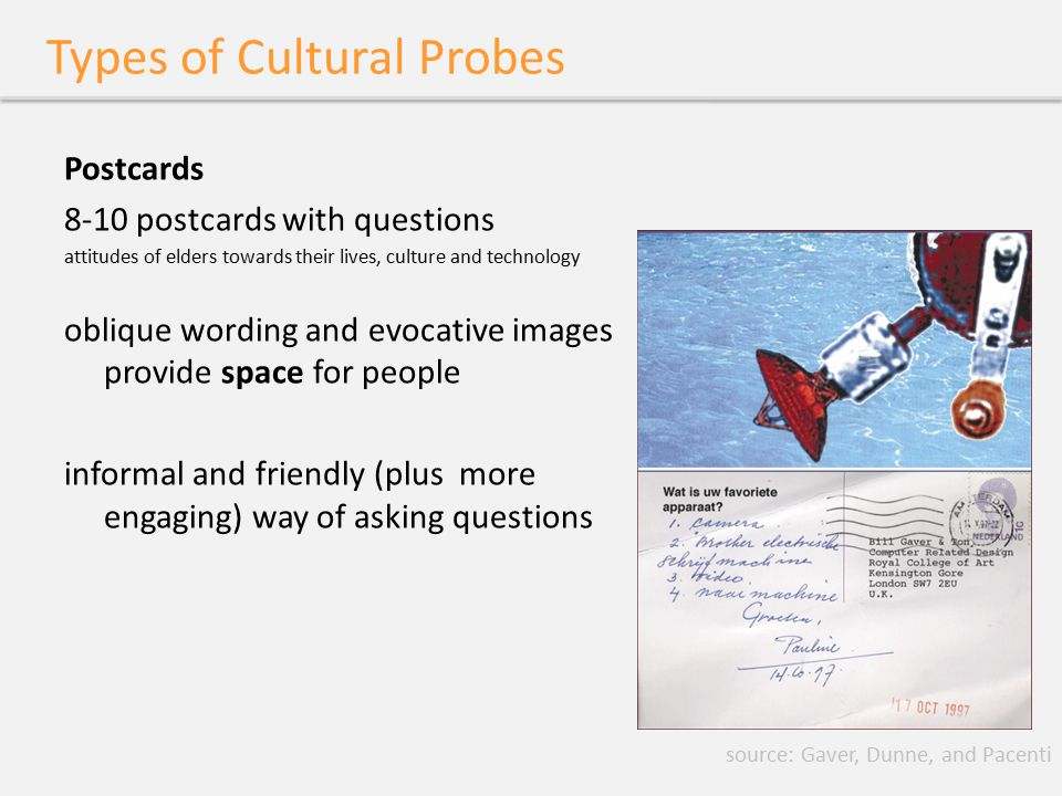 Types of Cultural Probes Postcards 8-10 postcards with questions attitudes of elders towards their lives, culture and technology oblique wording and e