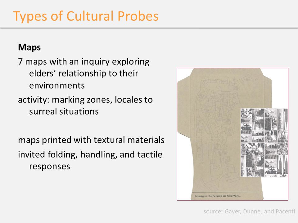 Informational Probes transforming cultural probes to informational probes - Crabtree et al use of probes in sensitive settings traditional ethnography is difficult focus on gathering information about participants participants act as self-observers results used to focus user workshops use probes to figure out what to look at source: Crabtree et al