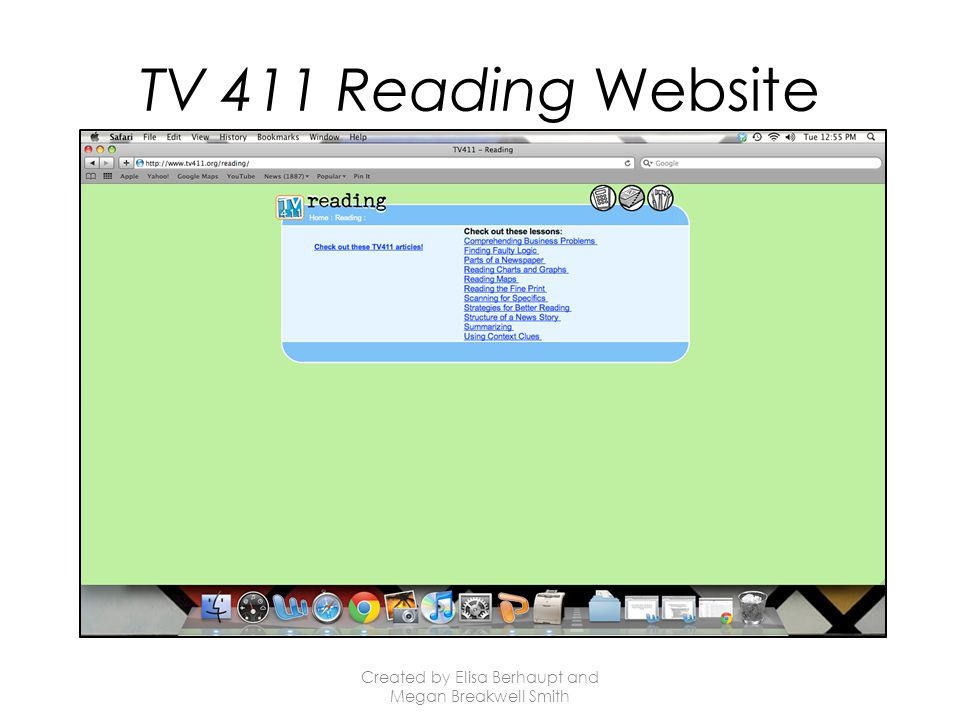 TV 411 Reading Website Created by Elisa Berhaupt and Megan Breakwell Smith