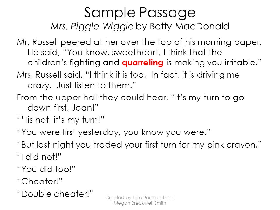 Sample Passage Mrs. Piggle-Wiggle by Betty MacDonald Mr.