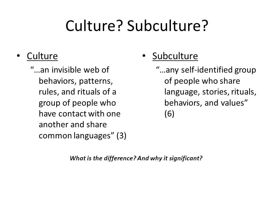 Culture. Subculture.