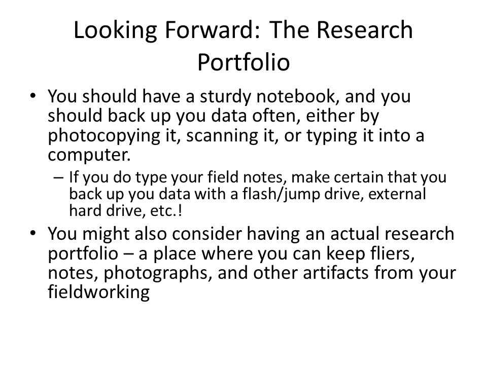 Four Main Activities of Fieldworking (And how having a good research portfolio can help you)