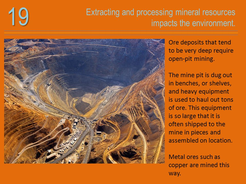 Extracting and processing mineral resources impacts the environment.19 Ore deposits that tend to be very deep require open-pit mining. The mine pit is