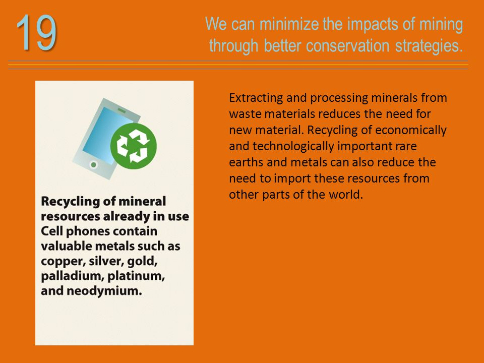 We can minimize the impacts of mining through better conservation strategies.19 Extracting and processing minerals from waste materials reduces the ne
