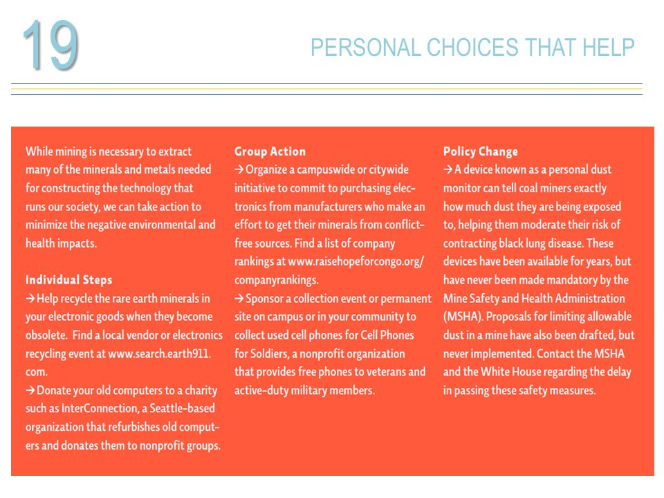 PERSONAL CHOICES THAT HELP19