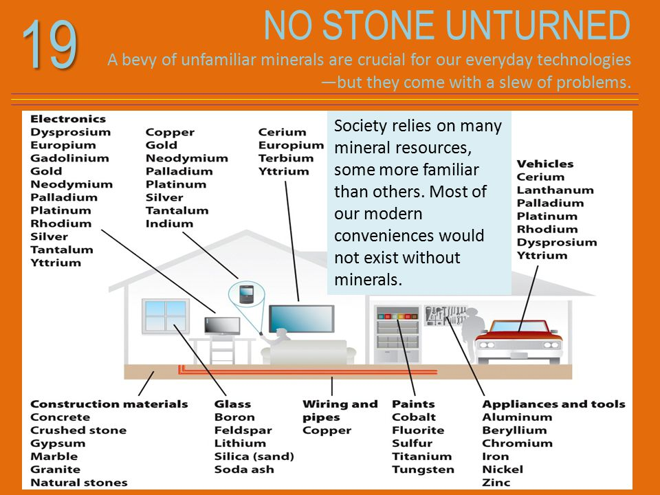 19 NO STONE UNTURNED A bevy of unfamiliar minerals are crucial for our everyday technologies —but they come with a slew of problems.