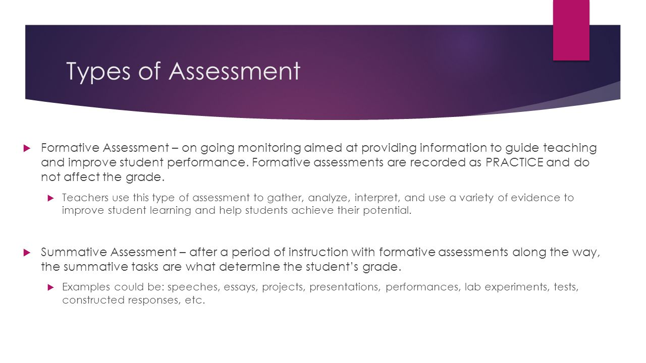 Types of Assessment  Formative Assessment – on going monitoring aimed at providing information to guide teaching and improve student performance.