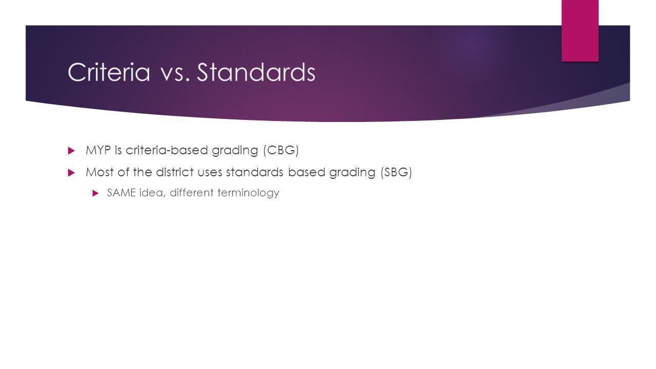 Criteria vs. Standards  MYP is criteria-based grading (CBG)  Most of the district uses standards based grading (SBG)  SAME idea, different terminol